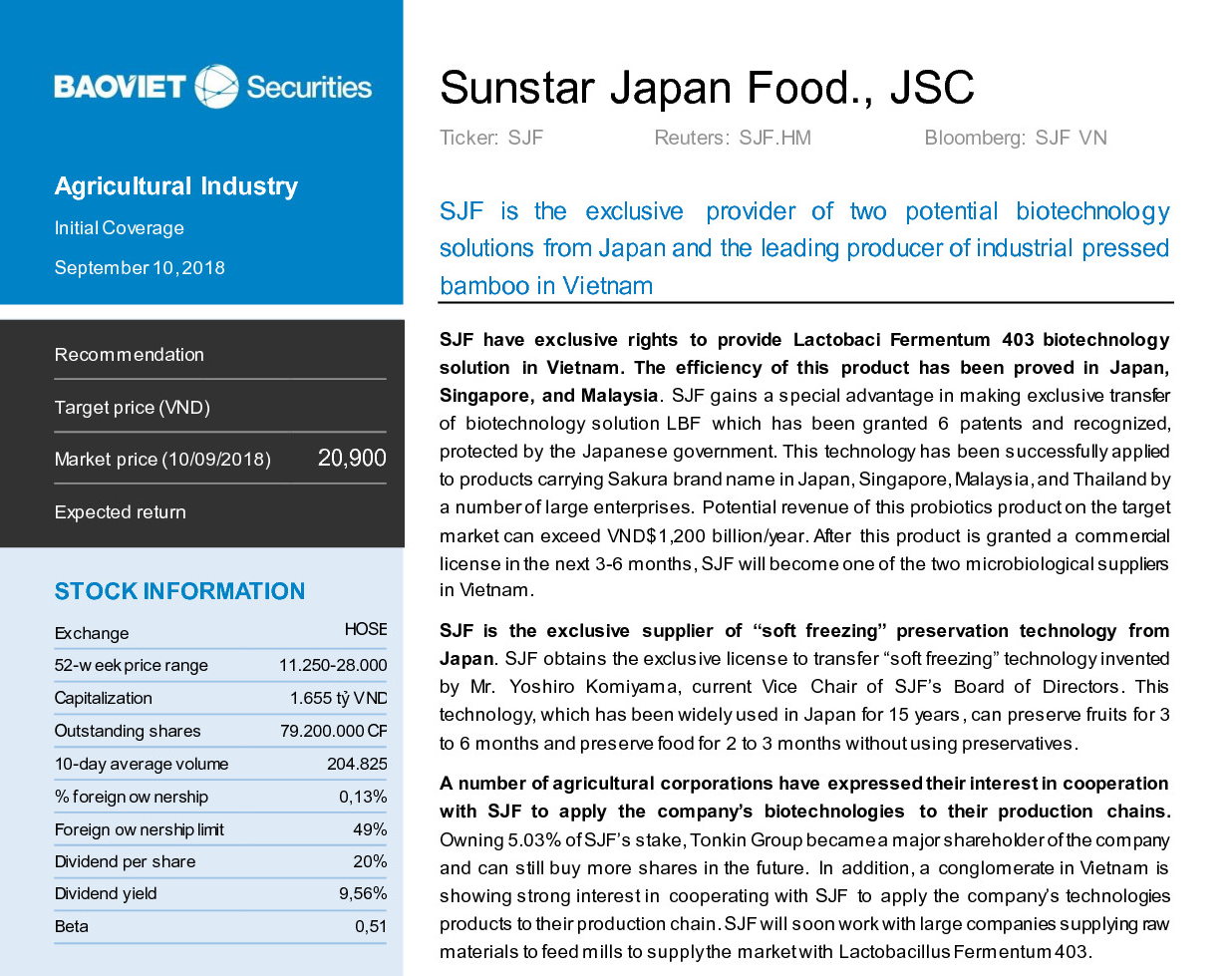 Business analysis report of SJF by Bao Viet Sercurities Joint Stock Company