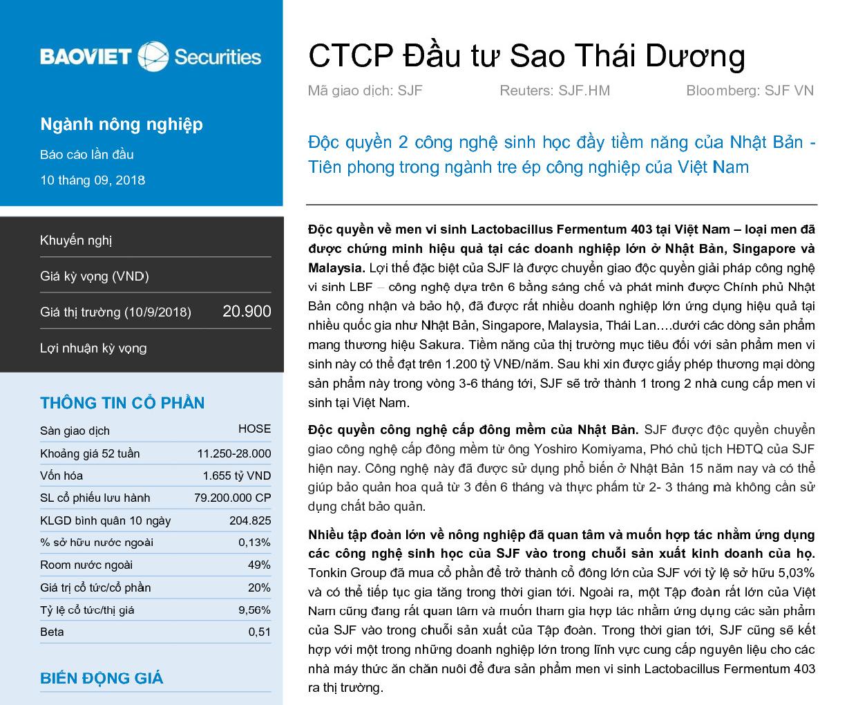 Báo cáo phân tích SJF của Công ty cổ phần Chứng khoán Bảo Việt
